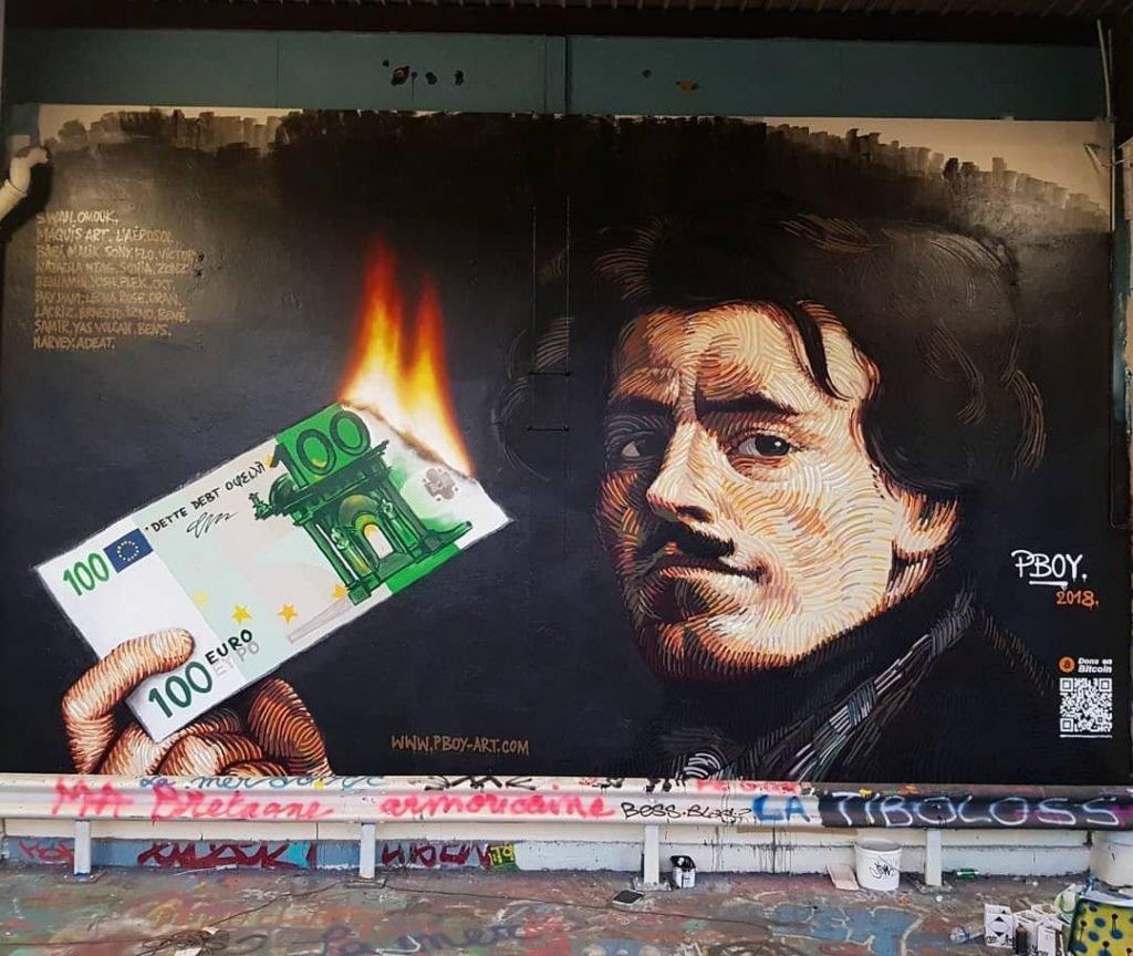 Arte urbano, poeta quemando dinero
