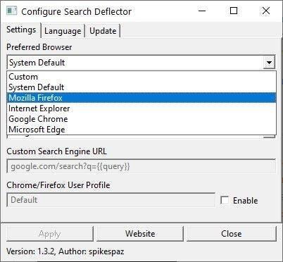 SearchDeflector seleccionar navegador